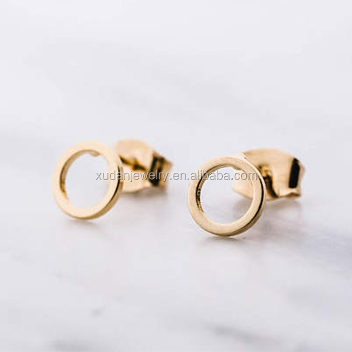 Cute Rose Gold Open Geometric Circle Stud Dainty Earrings for women