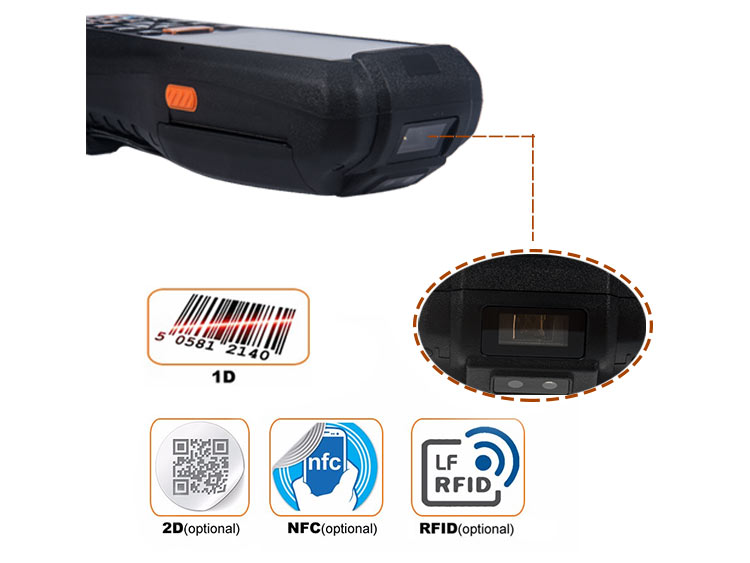 Handheld Quad-Core 1.3GHz 3G bluetooth data collector PDA barcode scanner thermal printer