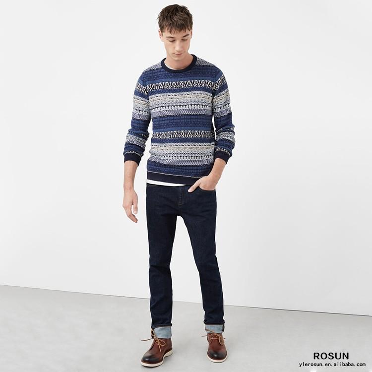 Mens Fair Isle Cotton-blend Jacquard Long Sleeves Sweater - Buy ...