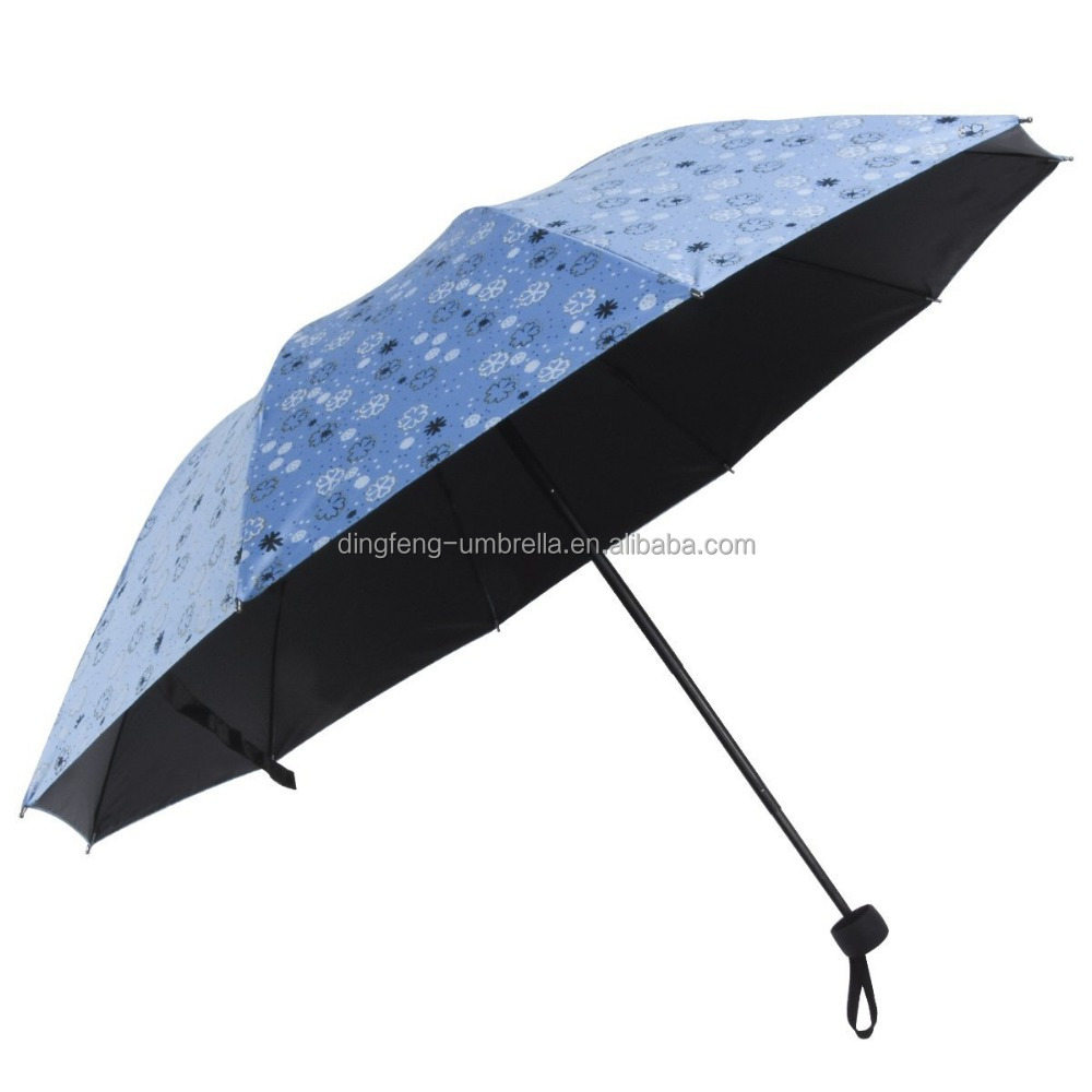 2017 Windproof Travel Umbrella 3 Folding Small Flower Printed Anti UV Sun Rain Parasol (Blue)