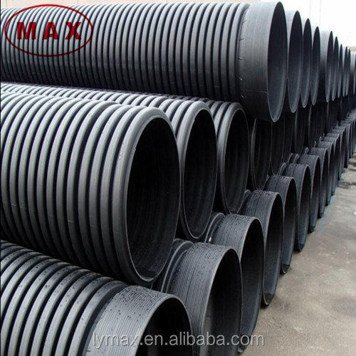 Black 8 Inch High Density Double Wall Corrugated Poly Pipe