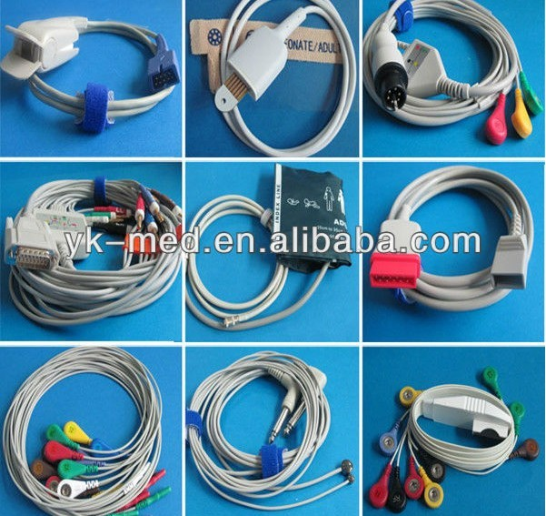 Landcom 10pin 10-lead holter ecg cable and leadwires, 120cm cable
