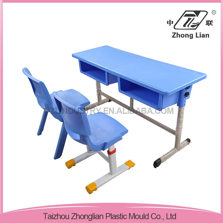 Double Seats Cheap Plastic Height School Adjustable Reading Table