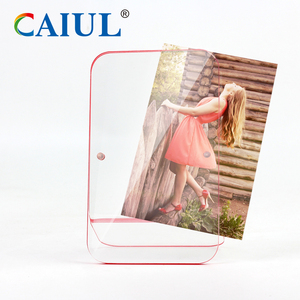 Magnetic picture frame block solid 4x6 Clear acrylic Standing Photo Frame