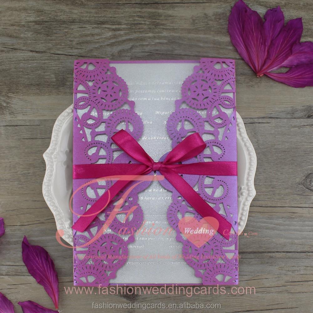 New Design Purple Ribbon Wedding Invitation Card With Laser Cut Buy Wedding Invitation Laser Cut Wedding Card Laser Cut Wedding Card With Laser Cut