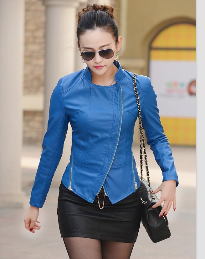 Дамы куртки кожа куртка женщины одежда весна и осень кожа пальто мотоцикл кожа пальто красный синий зеленый хаки