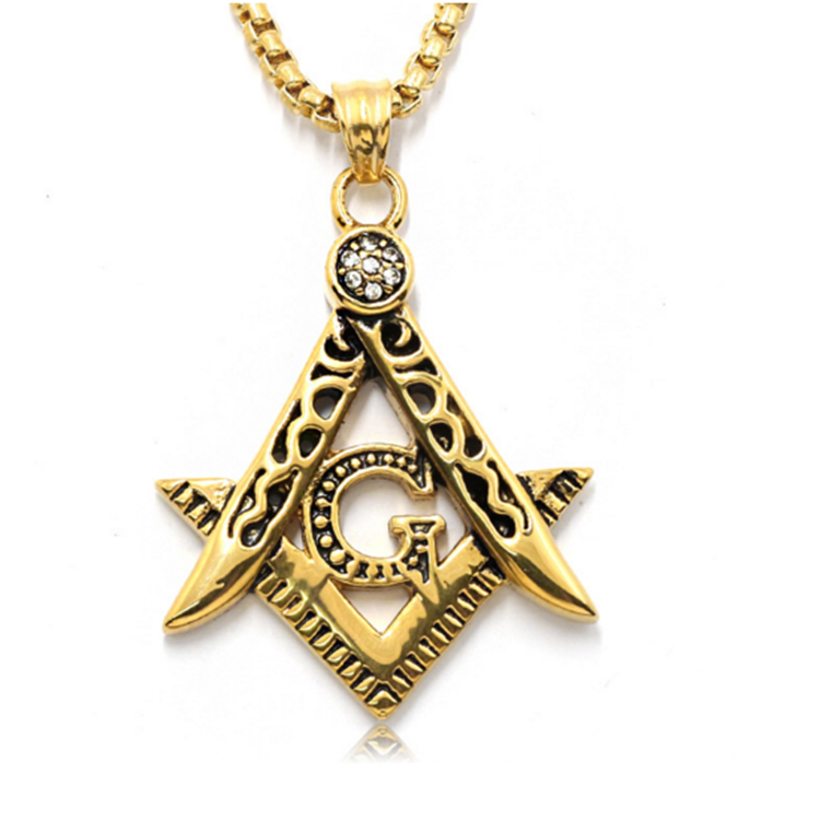 Golden Hip Hop Freemason Masonic Necklaces Men Women Bling Compass G