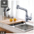 Swivel Spout single handle chrome Pull out Spray sink Kitchen Faucet