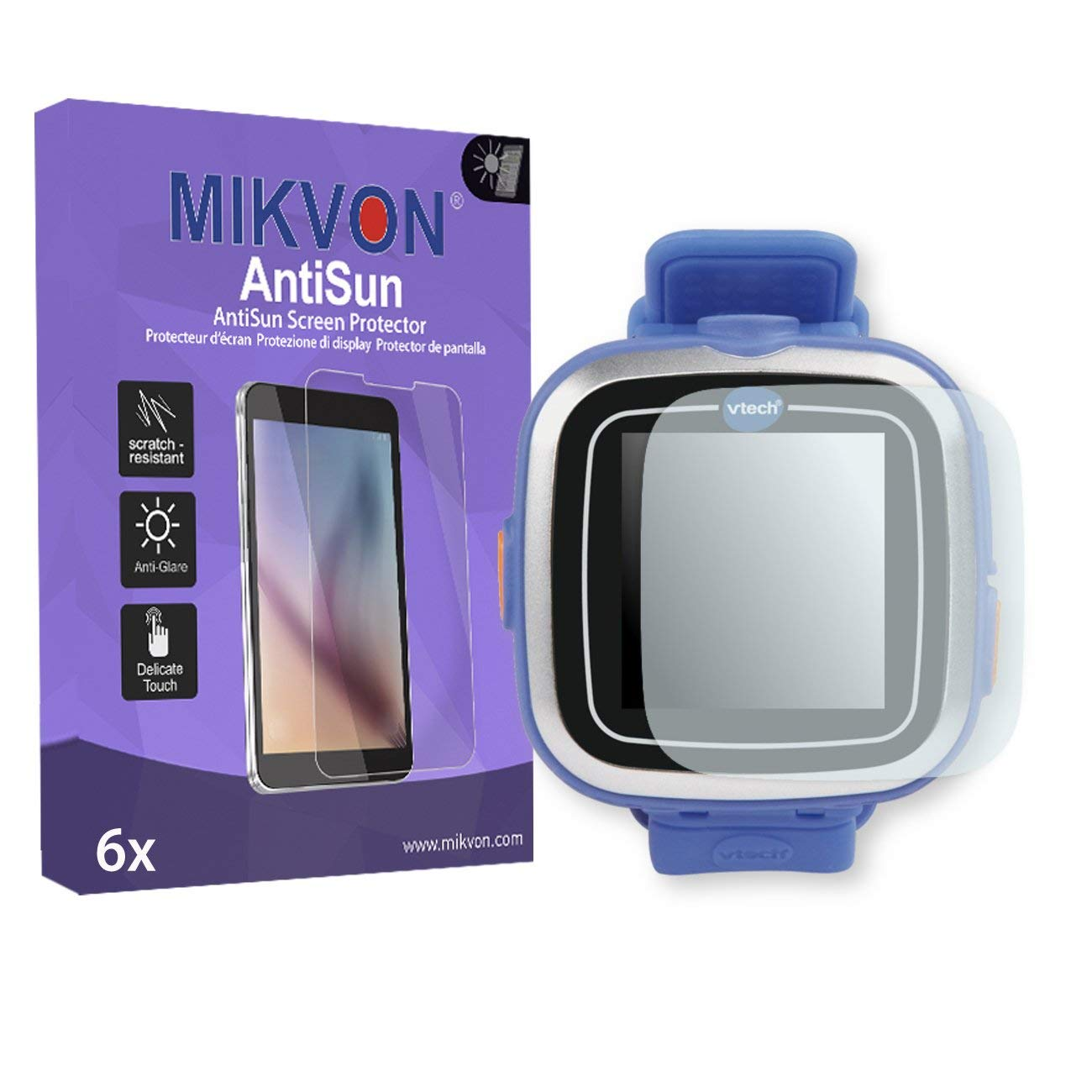 6x Mikvon AntiSun Screen Protector for Vtech Kidizoom Smart Watch 1 - Retail Package with accessories