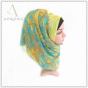 Fashion women ombre green yellow color vine scarf hijab