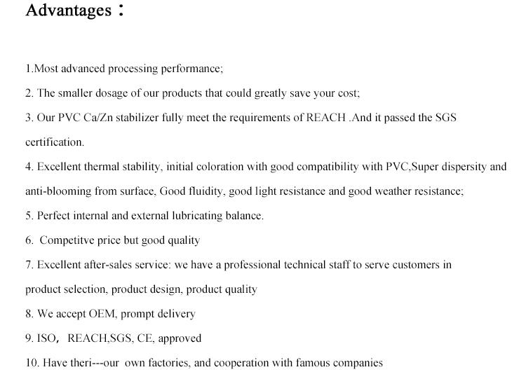 Plastic Auxiliary Agentchemical Formula Calcium Zinc Heat