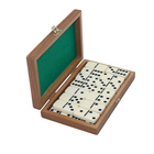 Mini Wooden domino game set with wooden box board games playing on table top