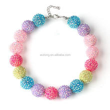 Chunky Candy Colorful Beads Necklace New Fashion Pink/Purple/Blue/Yellow Beads Rhinestone Balls Bubblegum Necklace