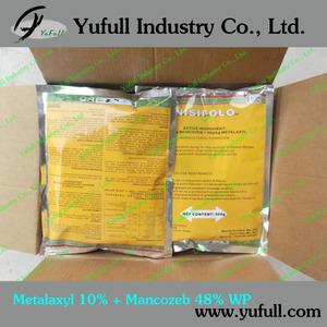 Metalaxyl 10%+ Mancozeb 48% 58% WP downy mildew control fungicide