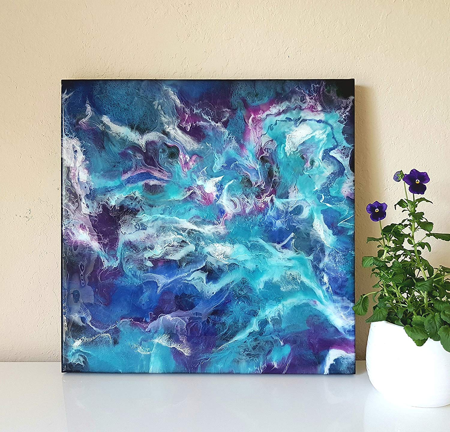 Buy Resin Abstract Painting 20x20 in, Resin art on canvas