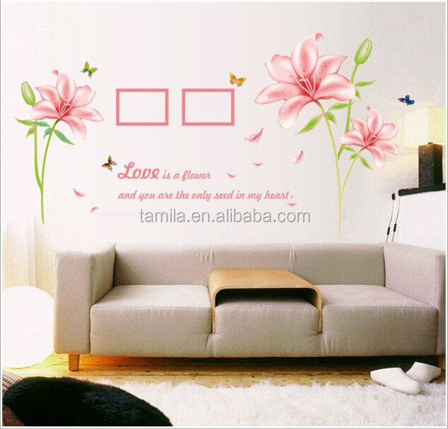 Wall decal photo frame plastic flower sticker for room decoration
