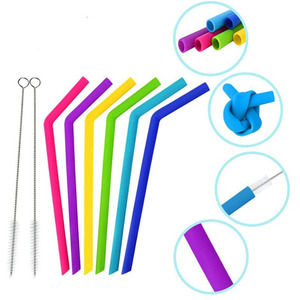 silicone straws with brushes set 6pcs 25cm drinking straw with 2pcs brushes bar home wine water tumblers straw