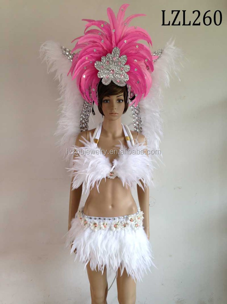 Showgirl/Dance Burlesque Feather samba costume LZL260