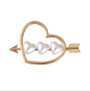 Custom gold hairpin wholesale Women girls Hairpins Silver gold Metal lovely Hollow Moon heart Pearl hair clip accessories