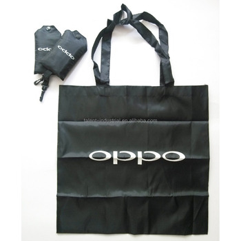 a935003dfc Customized Black Tote Shopper Bags With White Logo Printed