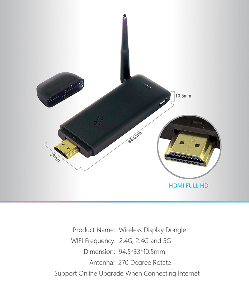 4 K HDMI שיקוף טלוויזיה Dongle עם Quad Core מעבד Miracast/Airplay/DLNA