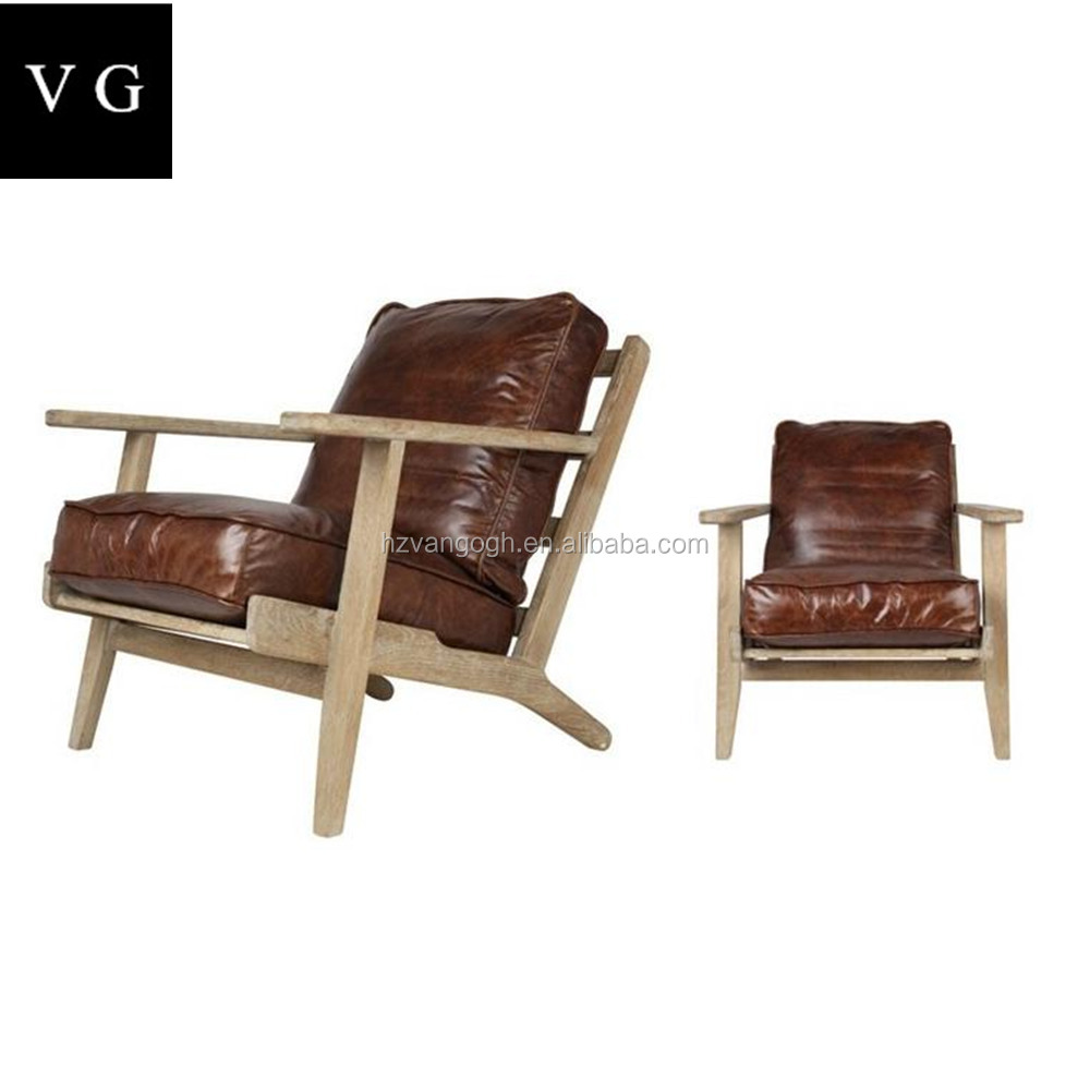 Classic oak wood leather upholstered lounge chair with Ottoman