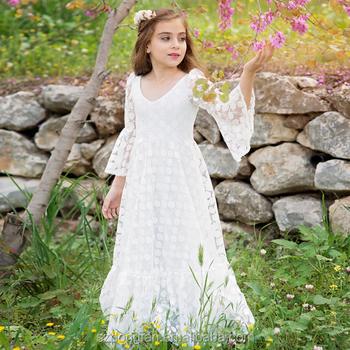 7884e979d2 2017 Baby Girl Party Dress Children Frocks Designs Flower Girls White Long  Maxi Wedding Dress