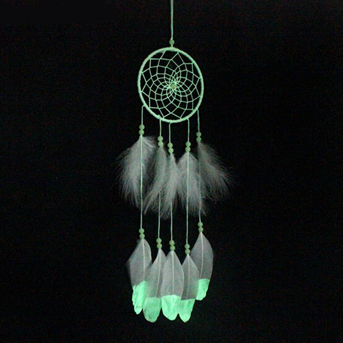Little Chair Glow In The Dark Handmade Feather Beads Dream Catcher Circular Net Home Room Wall Hanging Decor Party Wedding Ornament