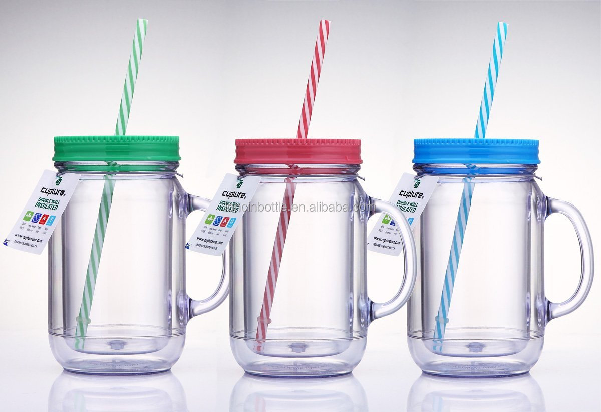 Double Wall Insulated Plastic Mason Jar Tumbler Cups With