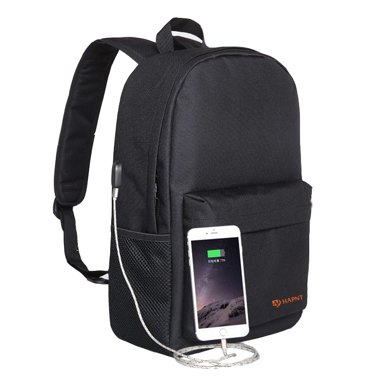 Promotional backpack with USB charging port day pack