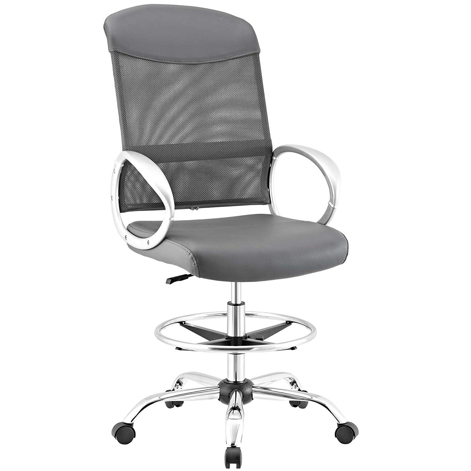 Modway EEI-2864-GRY Emblem Mesh and Vinyl Drafting Chair, Gray