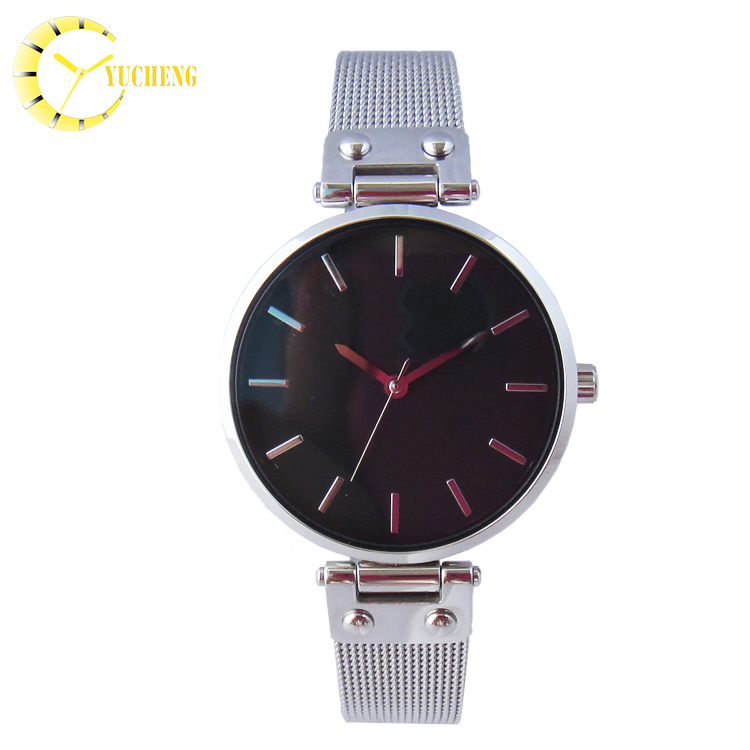 Customized Waterproof stainless steel leather Strap single lady hand watch with chain