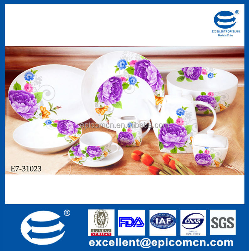 ceramic round dinnerware sets porcelain 47pcs dinner set with purple flower design  sc 1 st  Alibaba & Ceramic Round Dinnerware Sets Porcelain 47pcs Dinner Set With Purple ...