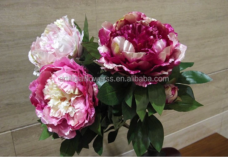 Silk Flower Artificial Peonies Cut Flowers With One Bud