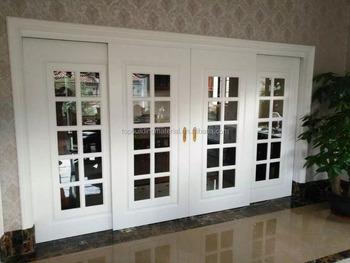 French white front door 4 panel glass design sliding door