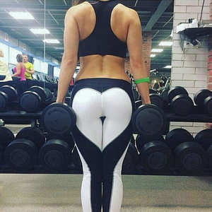 Tight lady yoga pants , Black and white gym compression tights leggings activewear