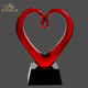 Customized Heart Shaped Hand Blown Art Glass Award Trophy
