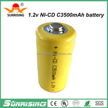 Sunrising ni-cd battery cell/1.2v nicd Sub c 2500mah batteries rechargeable