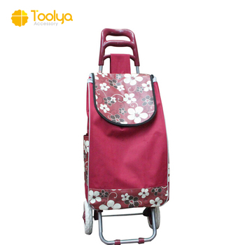 Online shopping promotional LOGO high quality cheaper price 2 wheels shopping trolley cart