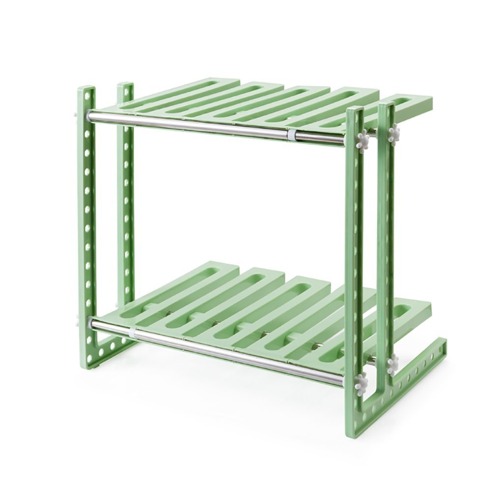 YONGLIANG Kitchen Supplies Double Shelves Multi-functional Retractable Under The Sink Storage Racks Kitchen Dual-use Racks (Color : Green)