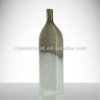 Large Hand Cut White Frosted Giant Milky Wine Bottle