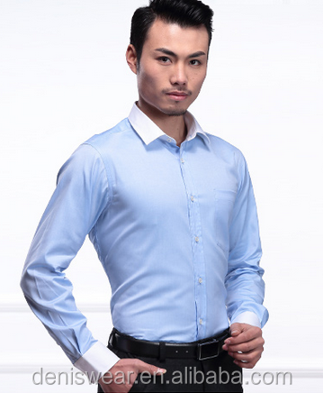 slim fit 100s royal oxford blue with white contrast bussiness dress social shirts
