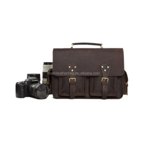 Vintage Genuine Leather DSLR Camera Bag Leather Briefcase SLR Camera Bag