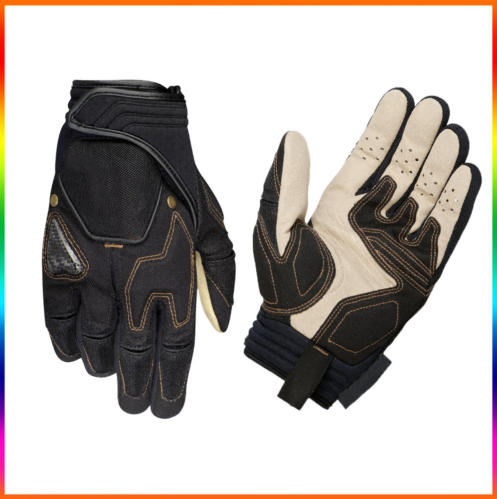 Soft synthetic suede PU motorcycle gloves