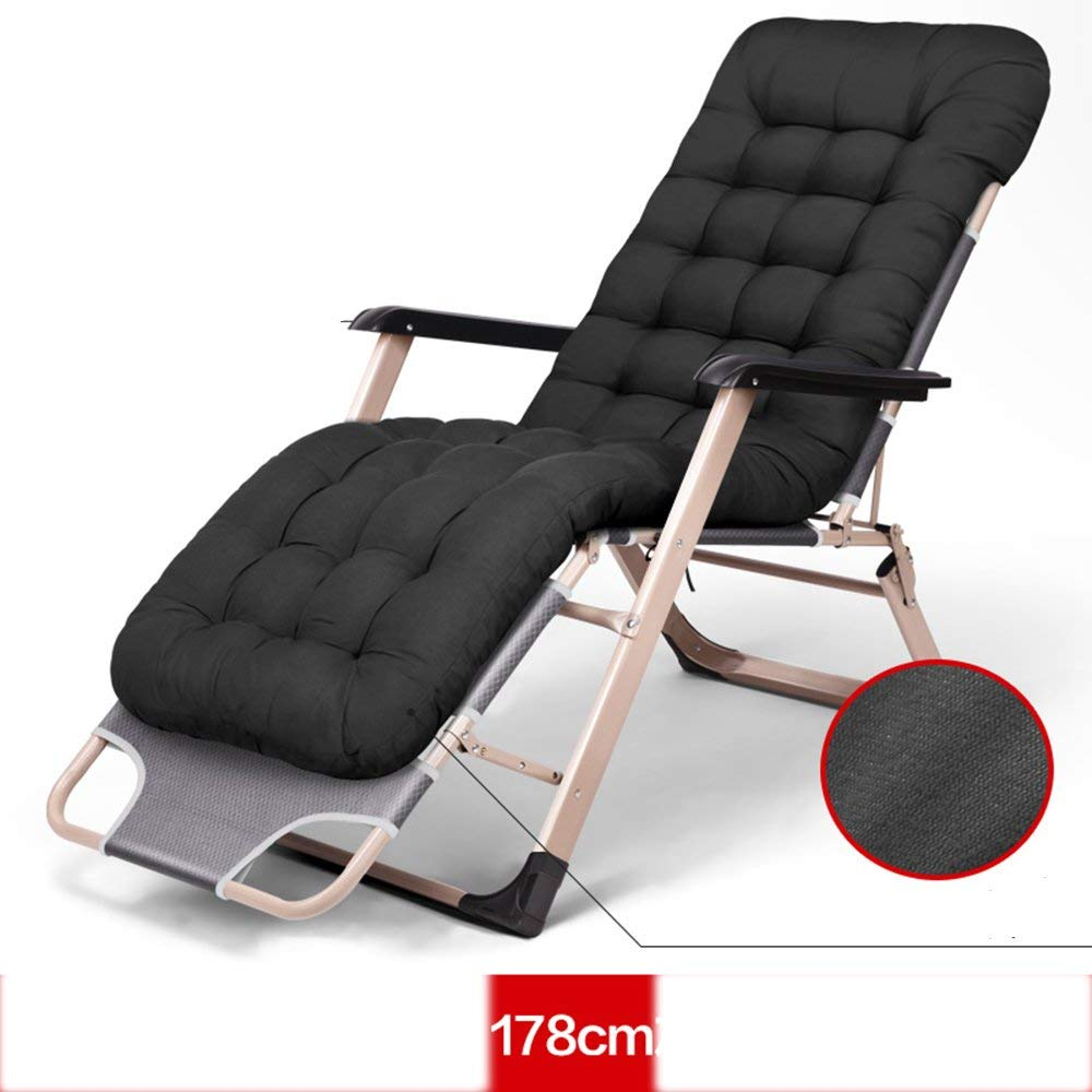 Rocking Chairs MEIDUO Folding Bed Zero Gravity Patio Lounge Chair Oversize With Padded Adjustable Recliner Support 300kg 3 Colors (Color : Black)