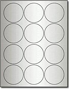 "2 1/2"" Round Silver Foil Labels for Laser Printers - 10 Sheets / 120 Labels"