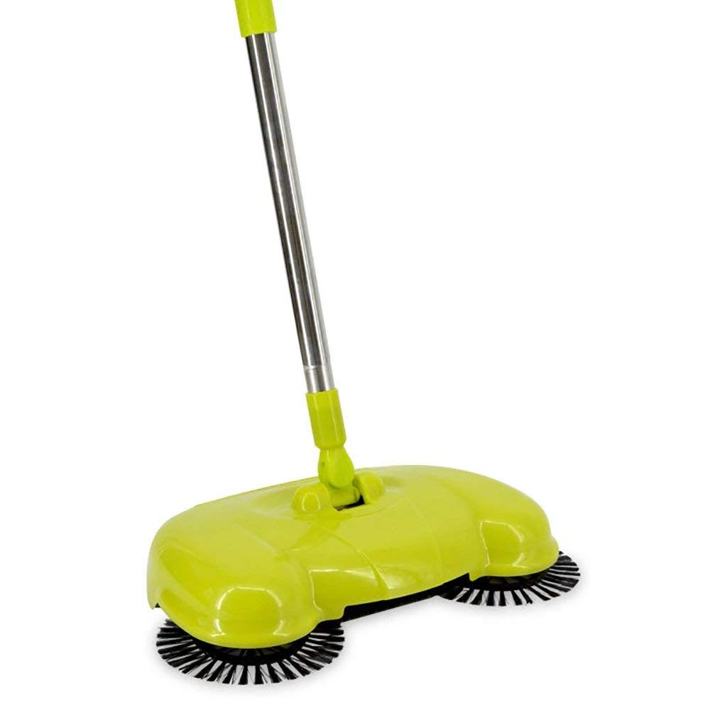 QETU Hand-Push Sweeper,Energy Saving Broom Dustpan,Multi-Purpose Cleaner Trash Bin Mechanical Braking No Need Electricity