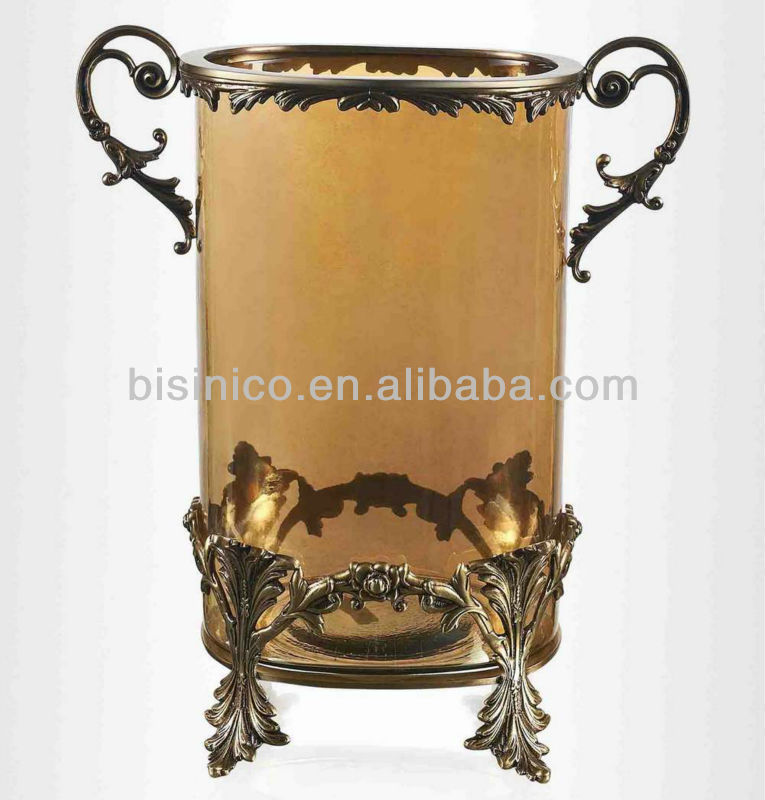 Antique Footed Bronze Mounted Vase With Handlesbrown Colour Glass