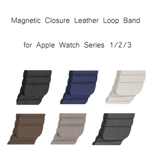 Factory Price Magnetic Closure Bracelet for Apple Watch Band Genuine Leather Loop strap