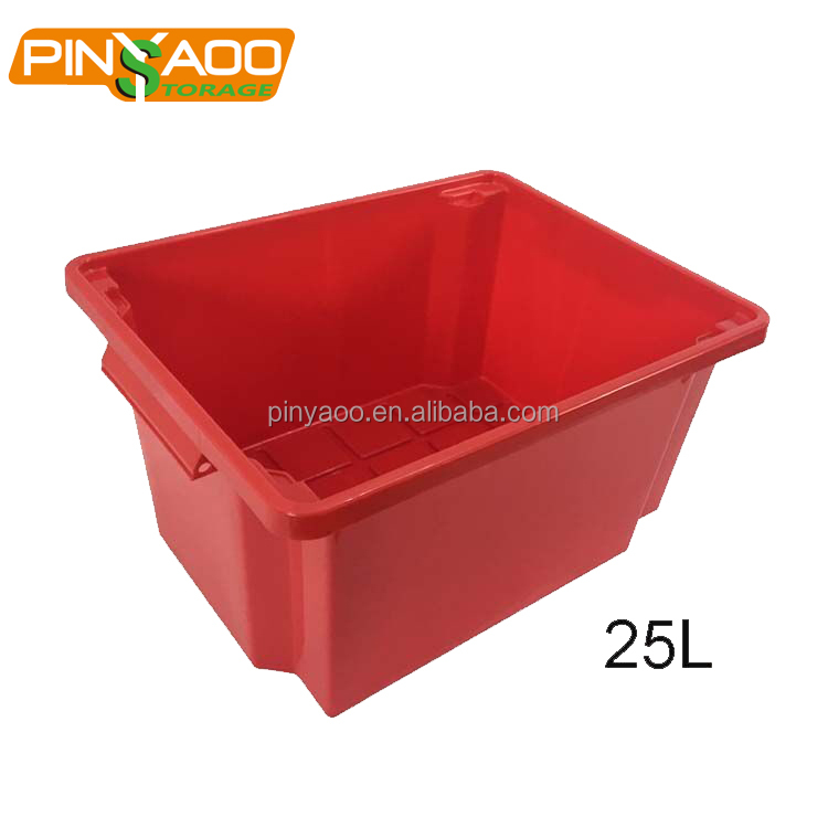 High quality 25L red pp nesting plastic container crate